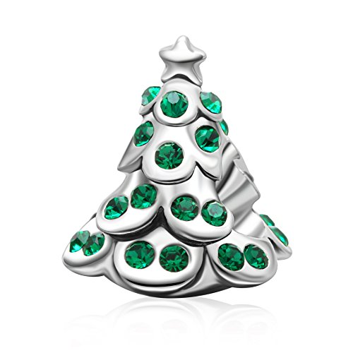Christmas Reindeer,Tree Charms 925 Sterling Silver Xmas Lucky Animal Charms for European Bracelet (Green - Bracelet Charm Tree