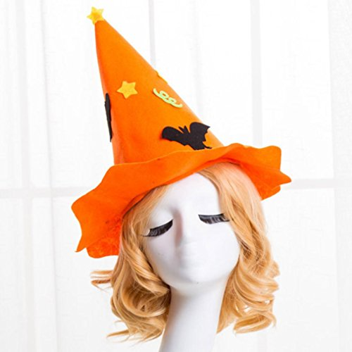 [Halloween Hat, Charberry 1 PCS Masquerade Witch Hat Parties Carnivals Party Decorative (Orange)] (Horror Makeup Value Kit)