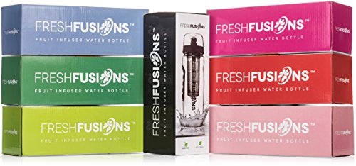 Fresh O2 Fusions Fruit Infuser Water Bottle Shaker Combo Set with eBook, Protein Shaker Ball and Insulated Sleeve, Lime, 32 oz