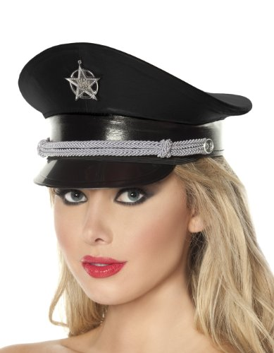 (Mystery House Deluxe Cop Hat, Black, One)