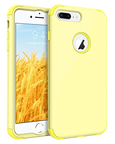 (iPhone 7 Plus Case, BENTOBEN Slim Shockproof 3 in 1 Hard PC Soft Silicone Hybrid Coated Full-Body Protective Phone Cover Case for iPhone 7 Plus (5.5 inch), Jelly Yellow)
