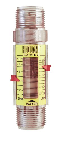 Brass T300 Series (Hedland H621-010 EZ-View Flowmeter, Polysulfone, For Use With Water, 1.0 - 10 gpm Flow Range, 1