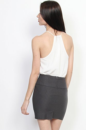 TheMogan Women's Stretch Woven High Waisted Short Mini Skirt Grey 1XL