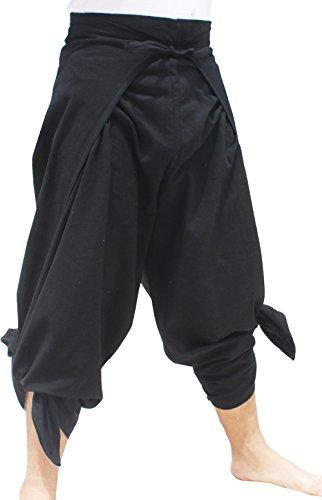 Raan Pah Muang RaanPahMuang Brand Plain Cotton Thai Drive In Wrap Around Pants Wide Cut Casual, Medium, ()