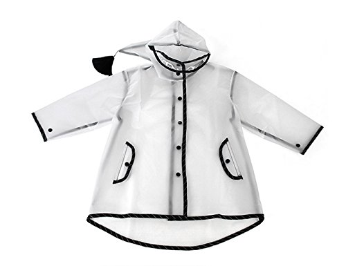 ITSMN Kids Waterproof Hooded Rain Jacket Raincoat Lightweight Poncho Outdoor Clear Black 2XL (Age 11-15 Y) by ITSMN