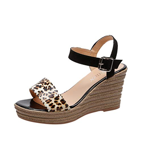 High Wedge Sandals for Women,Open Toe Buckle Ankle Strap Leopard Casual Shoes (US:5.5, Black) -