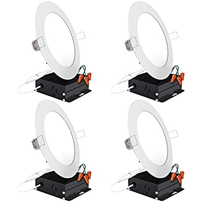 Sunco Lighting 4 Pack 6 Inch Slim LED Downlight with Junction Box, 14W=100W, 850 LM, Dimmable, 5000K Daylight, Recessed Jbox Fixture, Simple Retrofit Installation - ETL & Energy Star
