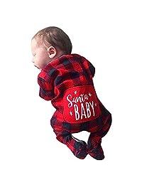 EISHOW Newborn Baby Boys Girls Christmas Santa Xmas Plaid Letter Romper Jumpsuit Pajamas Toddler Infant Outfits