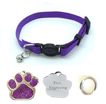 Collar para gato, con cascabel, fácil de abrir, con placa identificativa en forma de huella con purpurina (personalizable): Amazon.es: Productos para ...