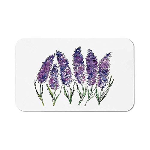(Watercolor Flower Non Slip Mouse Pad,Illustration of Lavender Flowers with Fresh Colors Mint Family Plant for Laptop Computer &)