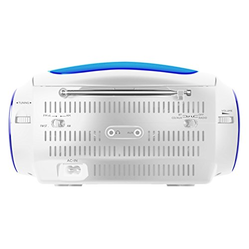Ematic CD Boom Box with Bluetooth Audio and Speakerphone, Blue by Ematic (Image #2)