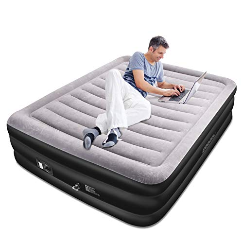 SPREEY Air Mattress Air Bed & Built-in Electric Pump, Queen Inflatable Mattress Bed Soft Flocking Layer Comfortable with Portable Storage Bag, Black Queen (80 x 60 x 20 in)