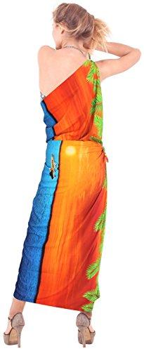 señoras likre vestido de natación pareo hawaiano de la falda del abrigo ropa de playa crucero sol del bikini Naranja Nosotros: 36W (3X) / Reino Unido: 38