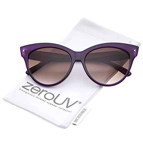 zeroUV - Women's Mod Oversize Horn Rimmed Cat Eye Sunglasses 52mm (Purple / - Frame Sunglasses Purple