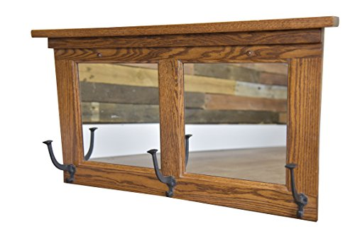 Wood Mirror Coat Rack Hanger Wall Mounted, Mission , 2 Panel, 3 Hook, Oak Wood, Michaels Stain by Hope Woodworking