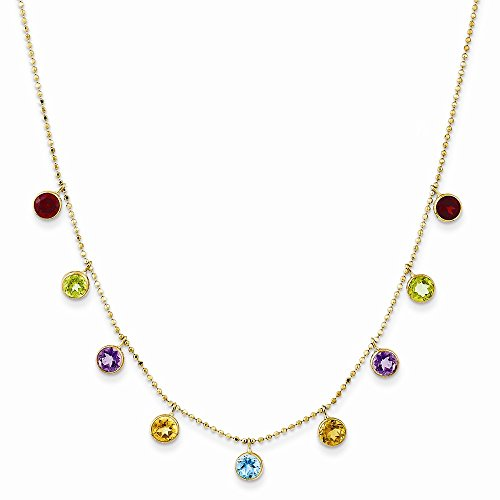 (14K Yellow Gold Multi-color Gemstone Necklace 18 Inch w/ 2in ext.)