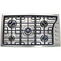 Verona VECTGMS365SS 36' Side Control Gas Cooktop With 5 Sealed Burners 18 500 BTU Power Burner Continuous Cast Iron Grates Cast-Iron Burner Caps and Stainless Steel Control Knobs in