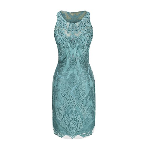 Beadings Cocktail - MACloth Women Glamourous Short Sheath Lace Beading Cocktail Wedding Party Dress (12, Turquoise-A)