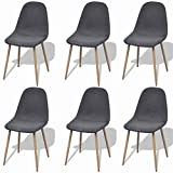 """Dining Chairs Set of 6 Comfortable Modern Style & Nordic Style Indoor&Outdoor Fabric Side Chair for Kitchen, Dining, Bedroom, Living Room 18.1"""" x 21.7"""" x 33.5"""" by BLUECC (Dark Gray)"""