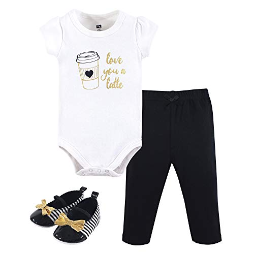 Hudson Baby Unisex Baby Bodysuit, Bottoms and Shoes, Latte 3-Piece Set, 3-6 Months (6M)
