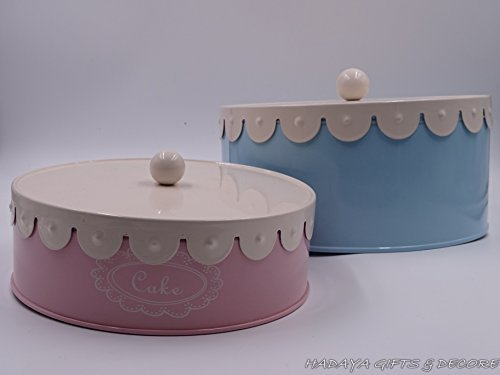 Retro look set of 2 cake storage tins,shabby chic, baby pink and baby blue in color