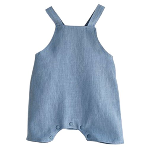 Younger Tree Infant Toddle Baby Boys Girls Cotton Linen Jumpsuit One Piece Blue/Beige Overall Outfit Clothes