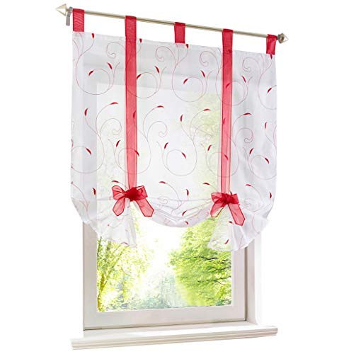 (BAILEY JO Roman Shades Rod Pocket Sheer Leaf Embroidery Tie Up Window Curtain Voile Valance Drape Drapery for House Decorative 1 Panel 55inch Height)