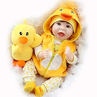 Aori Lifelike Realistic Reborn Baby Dolls 22 Inch Weighted Reborn Girl Doll with Yellow Clothes and Duck Toy Accessories Best Birthday Set for Girls Age 3