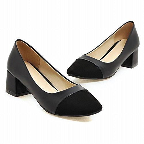 Carolbar Women's Contrast-stitching Sweet Mid Heel Square Toe Court Shoes Black W69oatUd