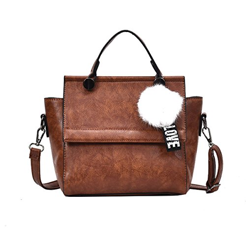Bolso De Las Señoras De La Moda Top Handle Satchel Retro Shoulder Messenger Bag Bolso De La Oficina Portátil Totes Brown