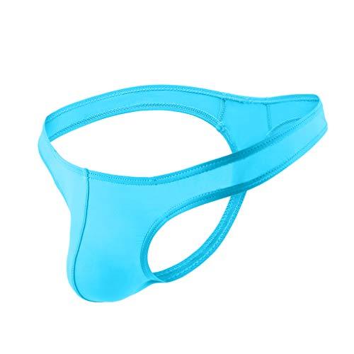 Alalaso Men's Underwear, Sweat-Absorbing Panties Sexy Ultra-Thin Thong Shorts Raised Underwear Ice Silk T Underwears(Light Blue,XL) (Silk Panties Crotchless)