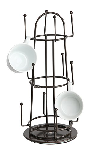 Finnhomy Swivel 12 Mug Tree Holder Rack Coffee Cup Hanger Storage Organizer Hook Tea Glass Rotate Holder Drying Tabletop Stand Brown (Cups Brown Coffee Glass)