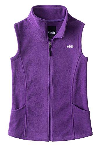 Running Stretch Vest - Wantdo Women's Outdoor Full Zipper Fleece Vest Purple M