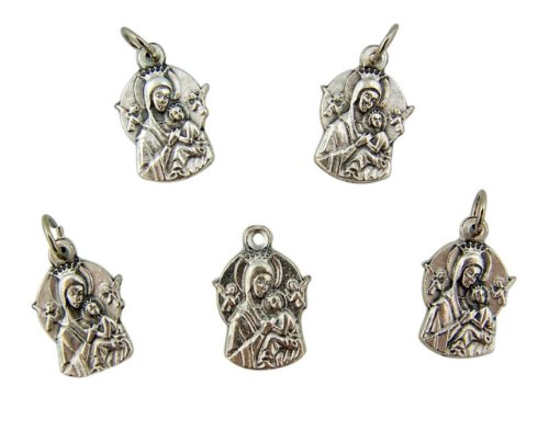 Medal Christians Help (Lot of 5 Our Lady of Perpetual Help 3/4 Inch Silver Tone Marian Icon Medal)