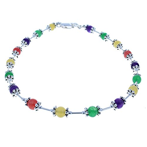 Ladies Multi Color Agate, Amethyst & Sterling Silver Beaded Anklet with Daisies - (Amethyst Beaded Anklet)