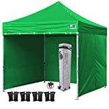 Eurmax 10x10 Ft Easy Pop-up Canopy Commercial Instant Party Tent with 4 Removable Sides and Roller Bag, Bonus 4pcs Weight Bags (Kelly Green)