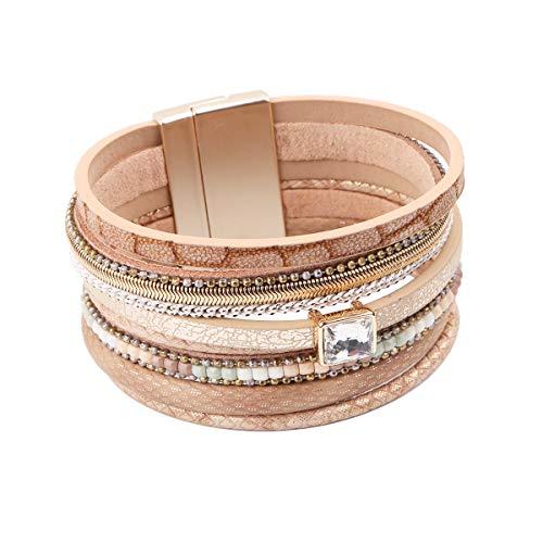 Opal Wrap Bracelet - REEBOOOR Boho Leather Bracelet,Leather Wrap Bracelet White Fire Opal Bracelet Boho Jewelry for Girls,Womens (CZ Diamond-Beige)