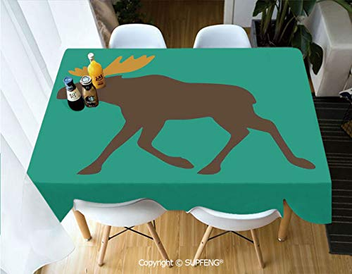 Vinyl tablecloth Moose with Antlers Illustration Deer Family Cute Creature with Artistic Design (55 X 72 inch) Great for Buffet Table, Parties, Holiday Dinner, Wedding & More.Desktop decoration.Polye