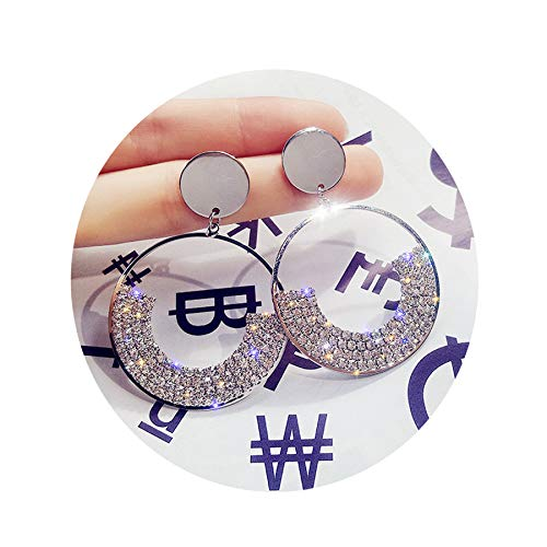 ATIMIGO Crystal Circle Drop Earrings Silver Disc Dangle Ball Earrings for Women Girls