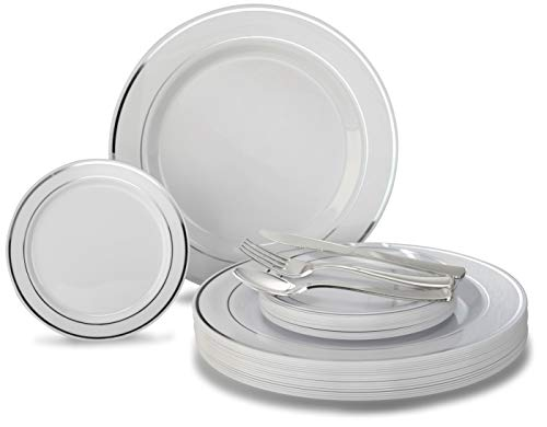 / 120 GUEST Wedding Disposable Plastic Plate and Silverware Combo Set, (White/Silver Rim plates, Silver silverware) ()