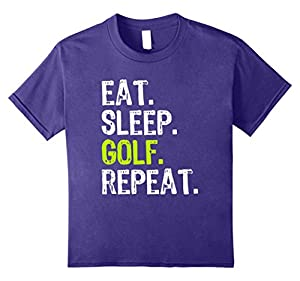 Kids Eat Sleep Golf Repeat T-Shirt 12 Purple