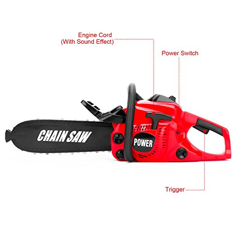 41cOMK60BfL - Kids Size Construction Yard Toy Pack Tool Big Play Realistic Chainsaw with Sound, Toddlers Pretend Play Yardwork Lawn Equipment Giant Plastic Chains Saw for Boys Garden Tool