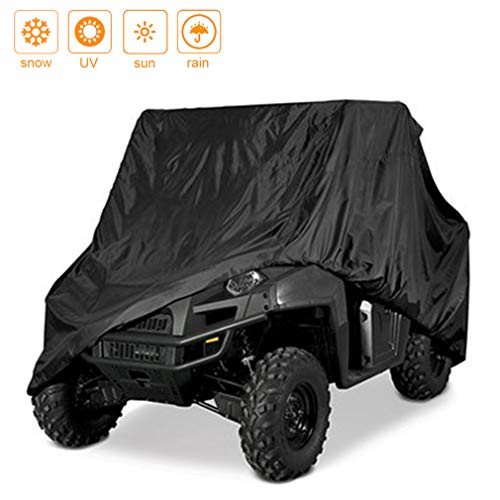 Indeedbuy Waterproof UTV Cover, Heavy Duty Black Protects 4 Wheeler from Snow Rain or Sun,Integrated Trailer System