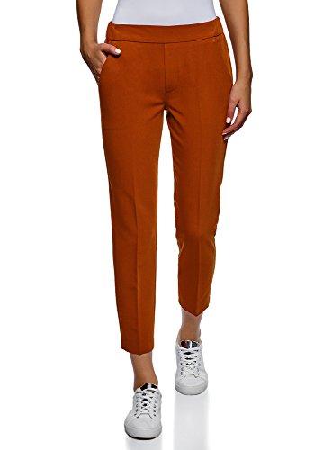 Vita con Ultra Pantaloni Stretti oodji Arancione Elastico in 3101n Donna dZ0wqdCWP