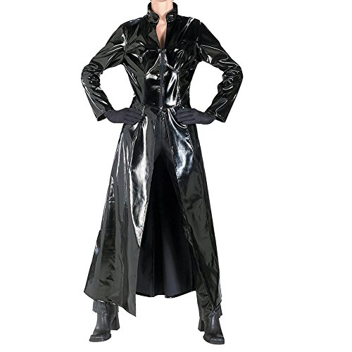 YiZYiF Adult Sexy PVC Leather Long Cloak Dress Wetlook Clubwear Party Costume Black (Gay Couples Costume)