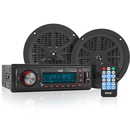 - Marine Headunit Receiver Speaker Kit - In-Dash LCD Digital Stereo w/ AM FM Radio System 5.25'' Waterproof Cone Speakers (2) MP3/USB/SD Readers Aux Input Single DIN & Remote Control - Pyle PLMRKT12BK