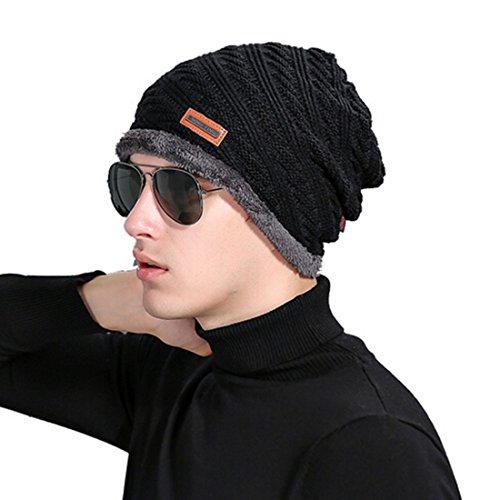 Little Chair Men Women Twill Knitted Thick Cashmere Winter Earflap Beanie Hat Crochet Skull Ski Cap (Black)