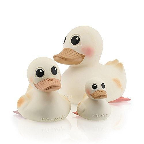 Baby Shower HEVEA Non-Toxic, Natural Rubber Duck Kawan Family, Designed with no holes, Plastic-Free by HEVEA