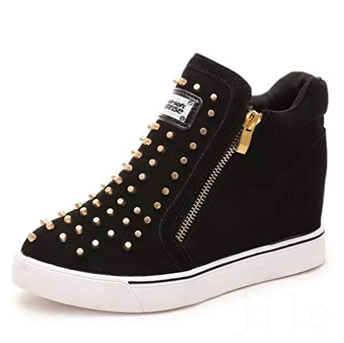 CYBLING Women's Platform Sneakers Hidden Wedges Side Zipper High Top Shoes Studded Ankle Booties Black