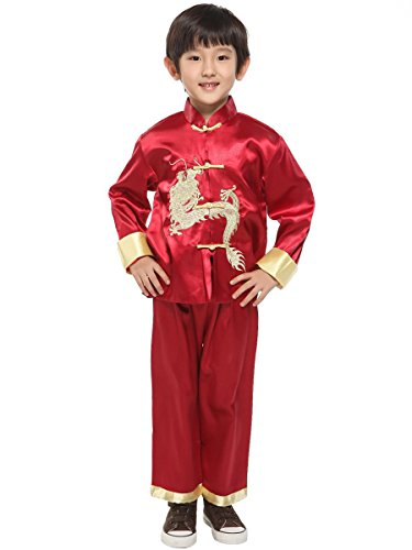 Evaliana Kids Chinese Dragon Embroidered Tang Suit Kung Fu - Chinese Fu Clothes Kung Pants